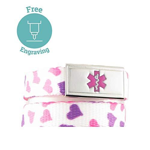 Medical Alert Bracelet for Kids   Free Engraving, Available, Adjustable Wrist Size   1 Bracelet, 1 Custom Stainless Steel Laser Engraved Tag   Happy Hearts ()