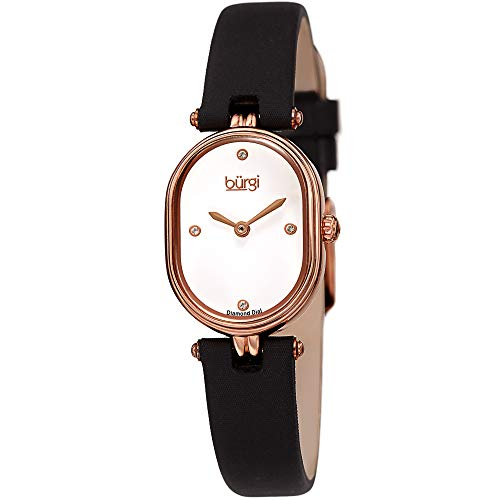 Burgi Designer Women's Watch - Black Satin Over Genuine Leather Strap, 4 Genuine Diamond Markers, Glossy Dial, Polished Oval Bezel - BUR229BK