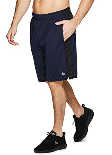 (RBX Active Men's Athletic Basketball Gym Shorts with Pockets S-19 Blue)