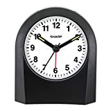 Sharp Quartz Analog Alarm Clock - Battery Operated- Ticking Sound - Touch Activated Back Light - Easy to Read - Great for Travel!
