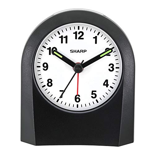 (Sharp Quartz Analog Alarm Clock - Battery Operated- Ticking Sound - Touch Activated Back Light - Easy to Read - Great for Travel!)