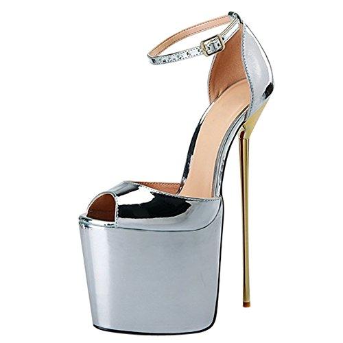 Platforme Metal Sandale Femme Talon Aiguille Sexy Epais Tete Haut Grande Pointure OCHENTA Poisson Chaussures de Argent Y4v5wtq