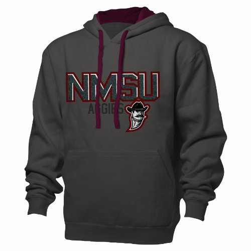 Ouray Sportswear NCAA New Mexico State Aggies Benchmark Colorblock Pullover Hood, Small, Graphite/Garnet