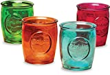 Circleware 69081 Yorkshire Heavy Base Whiskey Glasses 4-Piece, Party Entertainment Dining Beverage Drinking Glassware Cups for Water, Liquor, Beer, Ice Tea, Juice and Farmhouse Decor, 13 oz, Colors