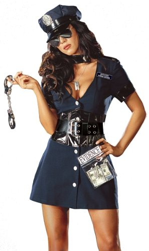 Corrupt Cop Costume - Large - Dress Size 10-14 (Haloween Costume Ideas For Couples)