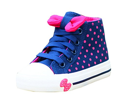 Girls Side Zipper High-top Lace Bows Canvas Shoes