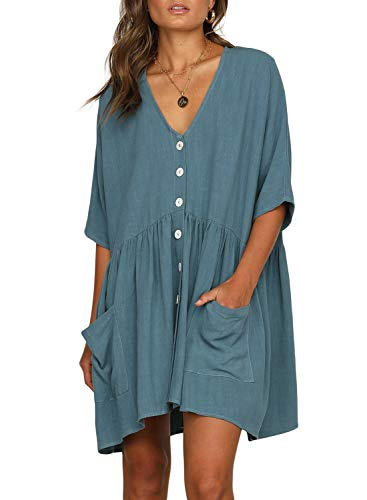 FIYOTE Women Short Sleeve Button Front Tunic Dress V Neck Loose Swing Shift Dresses Medium Size Sky Blue ()