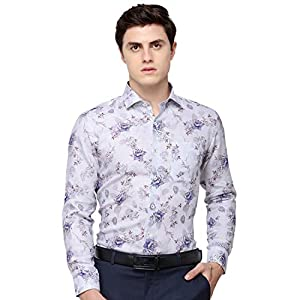 JadeBlue Super Luxe Men's Printed Linen Formal Shirt – Grey