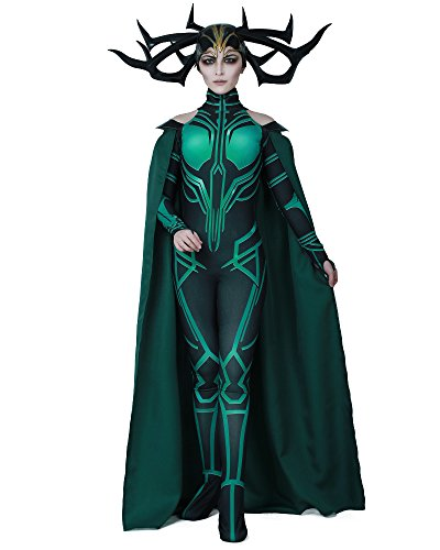 (Miccostumes Women's Hela Cosplay Costume Halloween Jumpsuit with Cape, Green,)