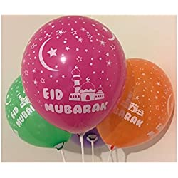 Eid Mubarak Balloons Pack of 10 Balloons Helium Quality