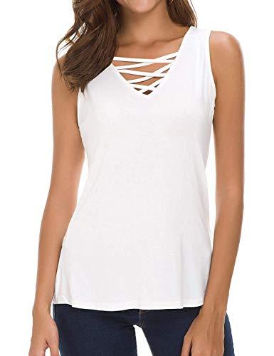 Ladies Cute Summer Tops V Neck Cotton Sleeveless Flowy Tank Tops White ()