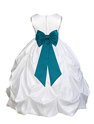 Wedding Pageant White Bubble Pick-up Taffeta Flower Girl Dress Baptism Bridal 301T 2