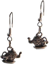 Tea Pot Kettle with Cup Dangle Earrings