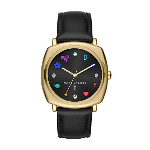 Marc Jacobs Women's 'Mandy' Quartz Stainless Steel and Leather Casual Watch, Color:Black (Model: - Black Marc Jacobs Watches Women