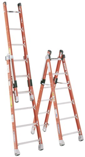 Werner 7808 375-Pound Duty Rating Type IA Fiberglass Combination Step/Extension Ladder, 8-Foot