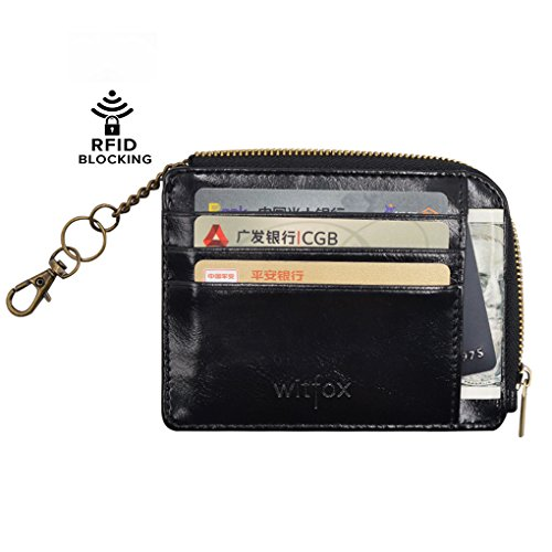 Womens RFID Leather Zipper Small Card Case Slim Wallet With Key Chain ID Window ( Black ) - Key High Black Fade