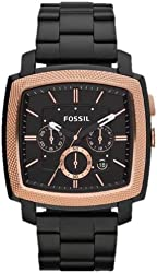 Fossil Machine Stainless Steel Watch Black with Rose