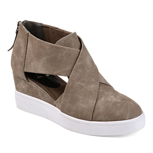 Journee Collection Womens Athleisure Criss-Cross D'Orsay Sneaker Wedges Taupe, 7.5 Regular US