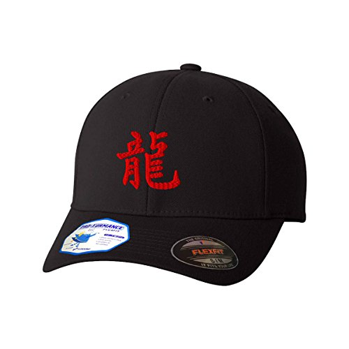 (Chinese Symbol for Dragon Red Flexfit Adult Pro-Formance Hat Black Small/Medium)