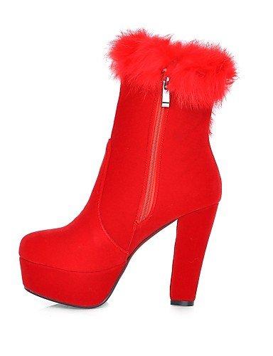 XZZ  Damenschuhe - Stiefel - Kleid Kleid Kleid   Lässig - Vlies - Blockabsatz - Plateau   Rundeschuh   Modische Stiefel - Schwarz   Rot B01L1GLIFM Sport- & Outdoorschuhe Abgabepreis 2c1b20