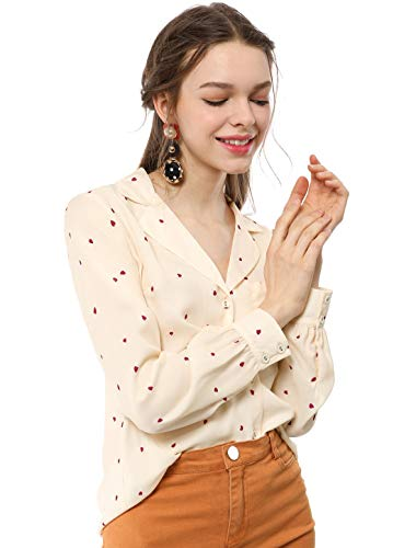 Allegra K Women's Button Down Notched Lapel V Neck Long Sleeves Heart Polka Dots Shirt Tops with Chest Pocket M Beige