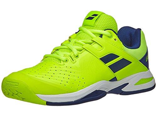 Babolat Kid's Propulse Fury All Court Junior Tennis Shoes, Fluo Yellow/Estate Blue (4 US Big Kid) (Babolat Tennis Shoes)