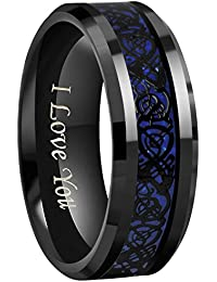 "6mm/8mm Blue Carbon Fiber Black Celtic Dragon Tungsten Carbide Wedding Band Ring Engraved ""I Love You"" Size 4 To 16"
