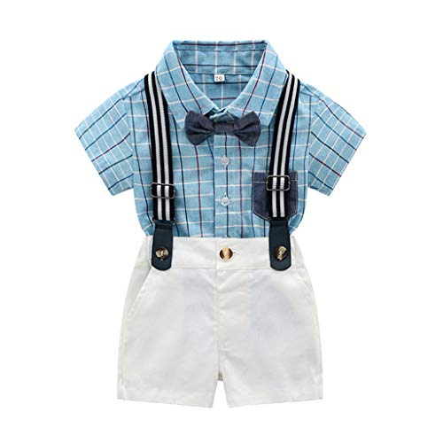 (Toddler Gentleman Suit Baby Boys Short Sleeve Bow Tie Pocket Plaid Shirt + Solid Color Strap Shorts,SIN vimklo Blue)