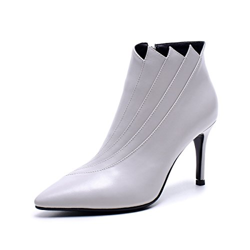 Invierno Fino E Cremallera De GTYW Alto Acentuados Cuero De Con Botines White Nuevos De De Tacón Otoño Señoras Mujer Zapatos Señoras Tacones Botas De Botas Altos Laterales ZZ7R6nUw4r