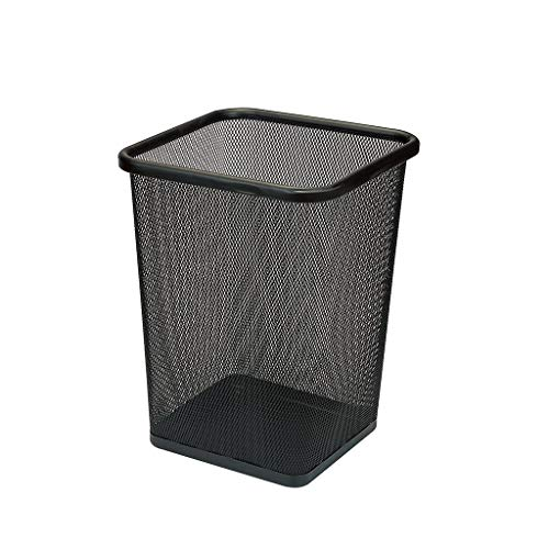 PAN Mesh Square Wastebasket,Commercial Concept Collection Trash Can, 10.24 Diameter x 11.8 H, Black (Size : Trumpet)