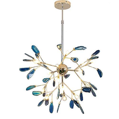 CCSUN Creative Color Chandelier, Nordic Modern Firefly Ceiling Light Sputnik Pendant Light G4 Agate Decoration Fixtures for Living Room Dining Room-j 75cm