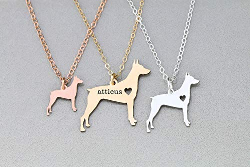 - Doberman Dog Necklace - IBD - Pinscher Dobie - Docked Tail - Cropped Ears - Personalize with Name or Date - Choose Chain Length - Pendant Size Options - Ships in 1 Business Day - 935 Sterling Silver