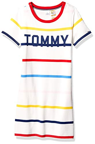 Tommy Hilfiger Women's Adaptive Tommy Striped Dress with Magnetic Closure at Shoulders, Snow White/Multi, X Small (Adaptive Dress)
