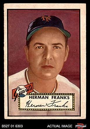 Amazoncom 1952 Topps 385 Herman Franks New York Giants Baseball