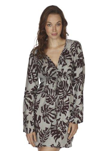 Santiki Mallory Long Sleeved Swimsuit Coverup - Grey Palm - Large