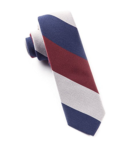 The Tie Bar Big Wool Stripe Navy, Red, and Gray Skinny Tie ()