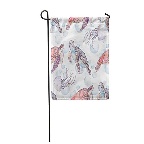 Semtomn Garden Flag 12x18 Inches Print On Two Side Polyester Watercolor Under Underwater Sea Pattern Turtles and Jellyfish Ocean Water Abstra Home Yard Farm Fade Resistant Outdoor House Decor Flag