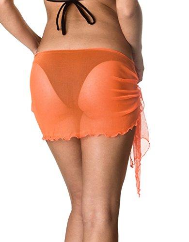 fcbd05dfe29 Coqueta Swimwear Sexy Mesh Cover up Beach Sarong Pareo Canga Swimsuit Wrap  ORANGE