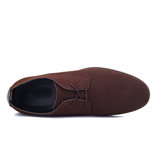 Dearwen Mens Daim Classique En Cuir Oxford Lace Up Appartements Chaussures Marron