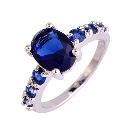 Psiroy 925 Sterling Silver Grace Womens Band Charms Gorgeous 7mm9mm Oval & Round Cut Sapphire Quartz Filled Ring