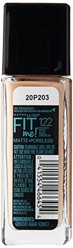 Maybelline Makeup Fit Me Matte + Poreless Liquid Foundation Makeup, Creamy Beige Shade, 1 fl oz
