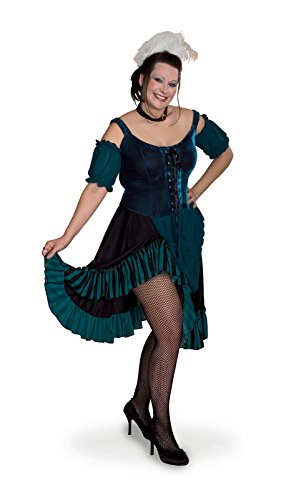 [Sunnywood Women's Plus-Size Lava Diva Saloon Girl, Green/Black, XX-Large] (Saloon Girl Adult Womens Costumes)
