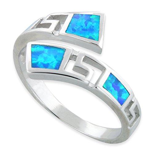 Sterling Silver Wrap Around Blue Opal Greek Key Ring - Size -