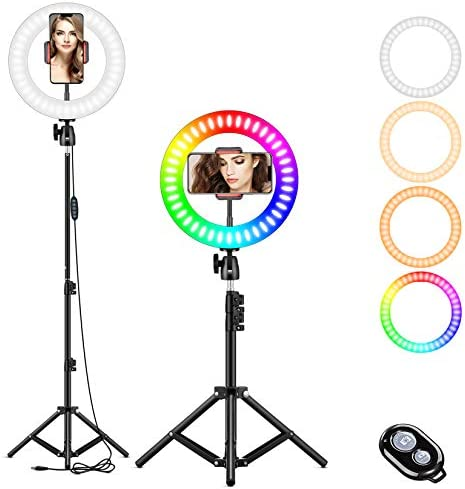 "10"" RGB Selfie Ring Light, LED Ringlight 3200-6500K with Tripod Stand & Cell Phone Holder for Live Stream/Make Up/YouTube/TikTok/Photography/Video Recording Compatible with iPhone & Android Phone"