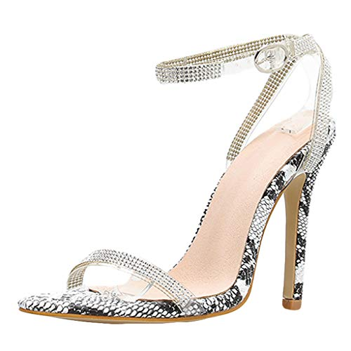 Xinantime Women's High Heel Stiletto Sandals Slip On Open Toe Cutout Sandals Dress Shoes Wedding Shoes Gray