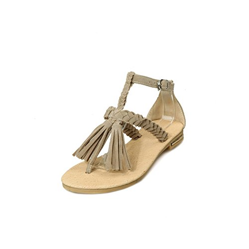 Women's Sandals No Frosted WeenFashion Flip Flop Solid Heel Split Toe Buckle apricot Fpgnxwdvq