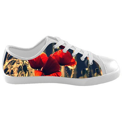 Customized Poppy Flower New Sneaker Canvas Kids Shoes