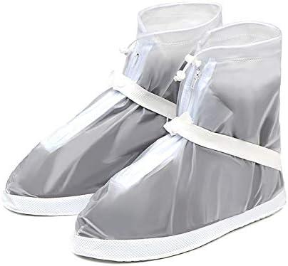 シューズカバー 防水ブーツ雨靴カバースリップ洗える、再利用可能なレインシューズ2色 通勤 通学 自転車用 (Color : White, Size : 40-41)