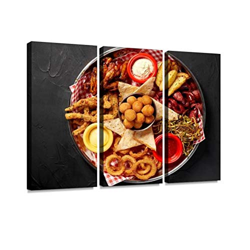 BELISIIS The Beer Plate with Spicy Chicken Wings, Calamari Rings. Wall Artwork Exclusive Photography Vintage Abstract Paintings Print on Canvas Home Decor Wall Art 3 Panels Framed Ready to Hang