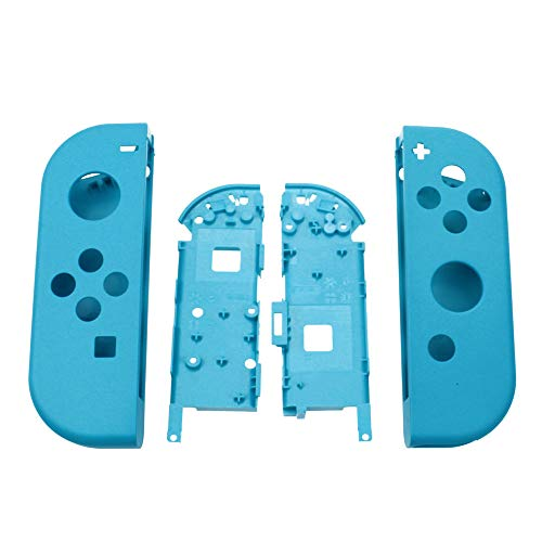 Hard Housing Shell Skin Case Faceplate Cover Middle Frame for Nintendo Switch NS Joy-Con Controller Replacement Repair Part (Blue+Frame)